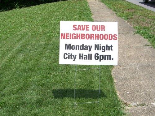 Save Our Neighborhoods Sign